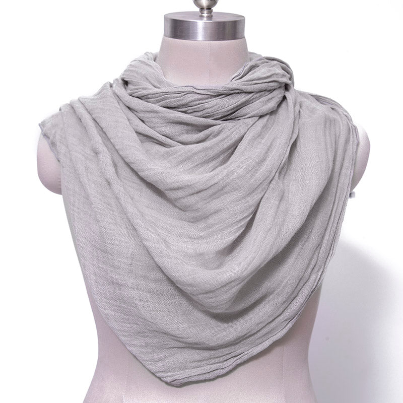 Casual Women Cotton Linen Floded Light Gray Rectangle Scarf - Buykud
