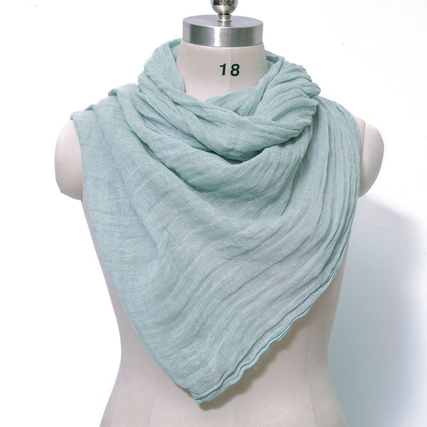 Casual Women Cotton Linen Floded Gray Blue Rectangle Scarf - Buykud
