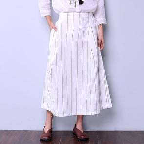 Casual Stripe Women Loose White Skirt - Buykud