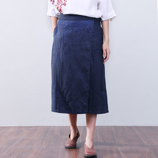 Retro Loose Applique Blue Calf Skinners Culotte - Buykud
