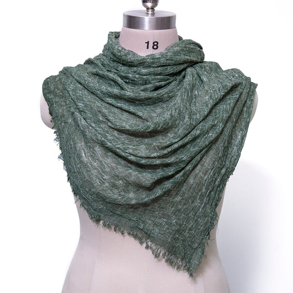 Cotton Linen Retro Rectangle Women Fringed Green Scarf - Buykud