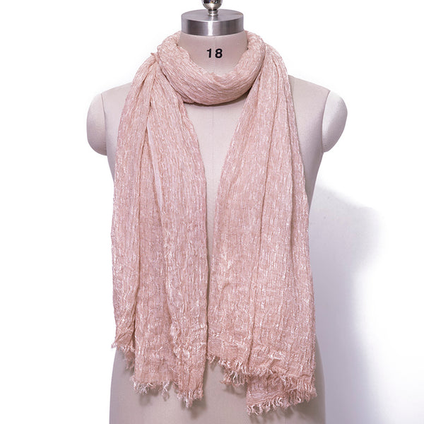 Cotton Linen Retro Rectangle Women Fringed Pink Scarf - Buykud