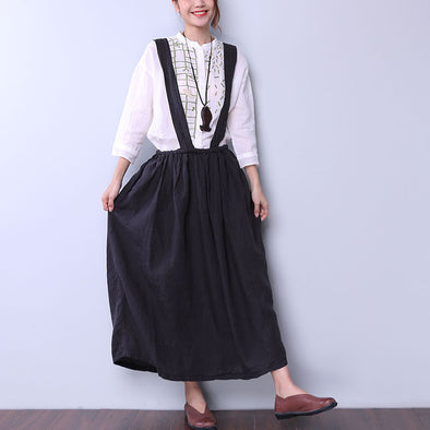 Loose Casual Stripe Women Dark Gray Suspender Skirt - Buykud