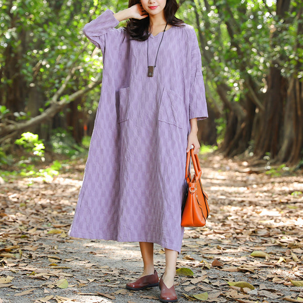 Casual Jacquard Double Pocket Autumn Purple Dress For Women - Buykud