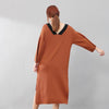 Chic Women V Neck Split Long Sleeves Knitting Dress