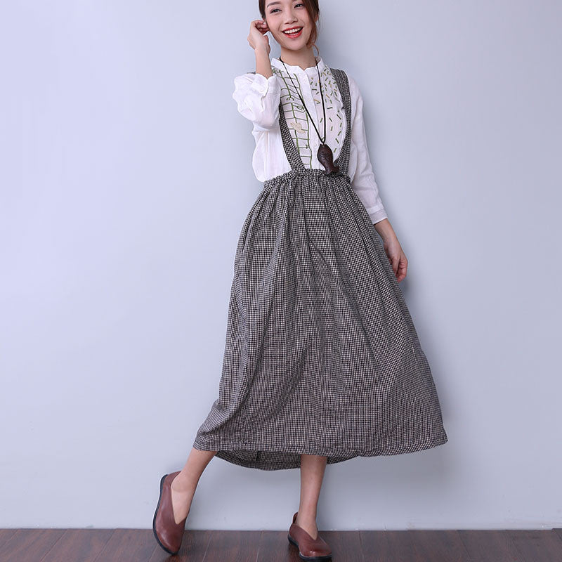 Loose Casual Women Lattice Black And White Suspender Skirt - Buykud