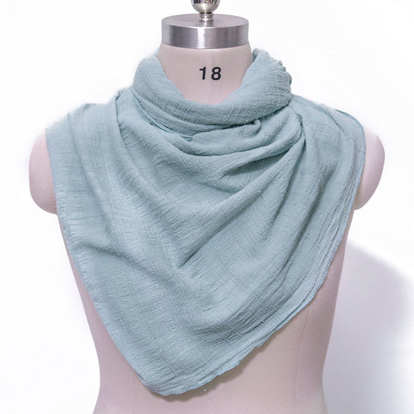Cotton Linen Casual Women Gray Blue Rectangle Scarf - Buykud