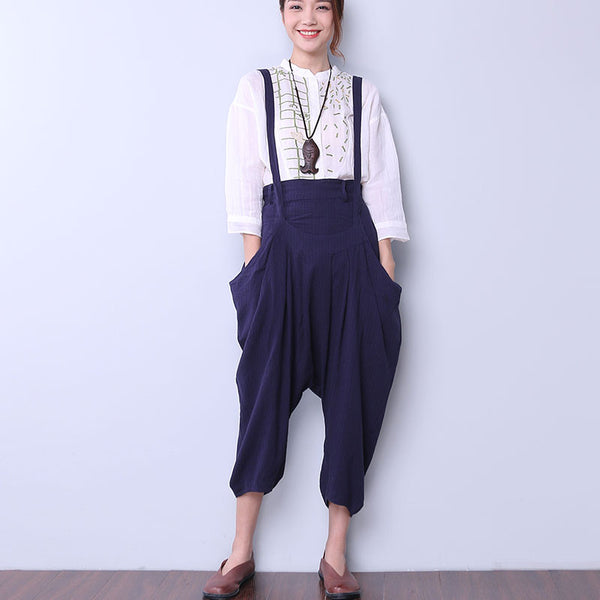 Casual Splicing Women Blue Overalls