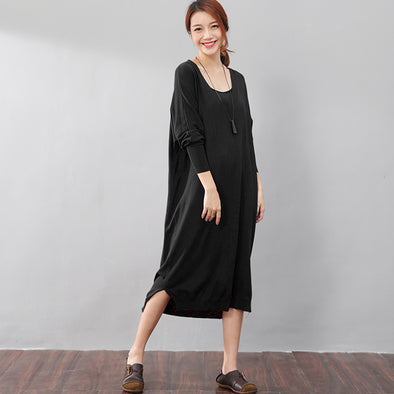 Women Solid Black Long Sleeve Side Slit Casual Dress - Buykud