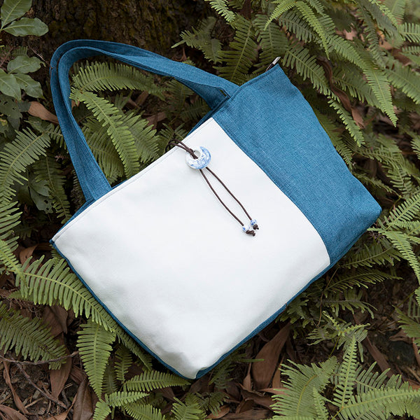 Women Canvas Simple Blue White Splicing Shoulder Bag - Buykud
