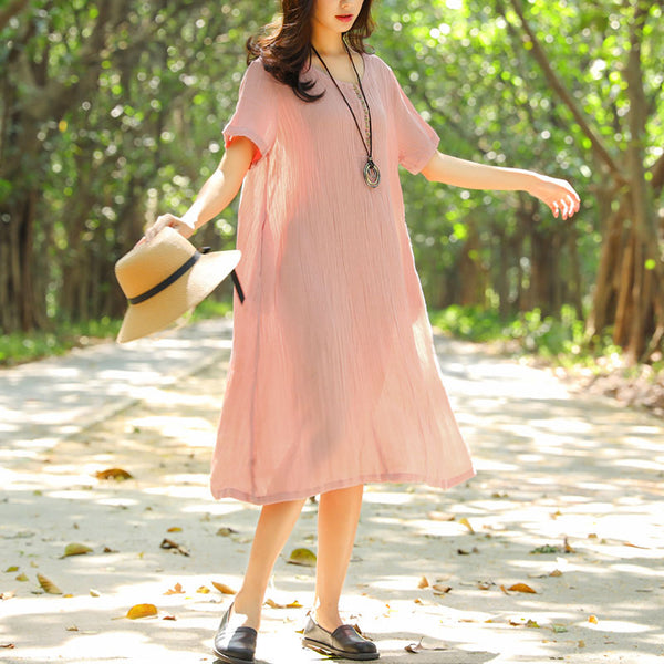 Women Summer Short Sleeve Pockets Pleated Buttons Pink Dress - Buykud