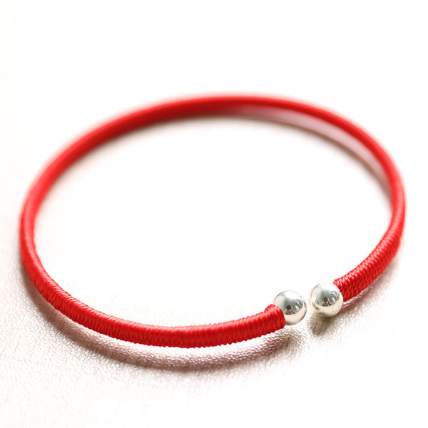 Sweety Women Round Red Knitted Chain With Metal Bracelet - Buykud