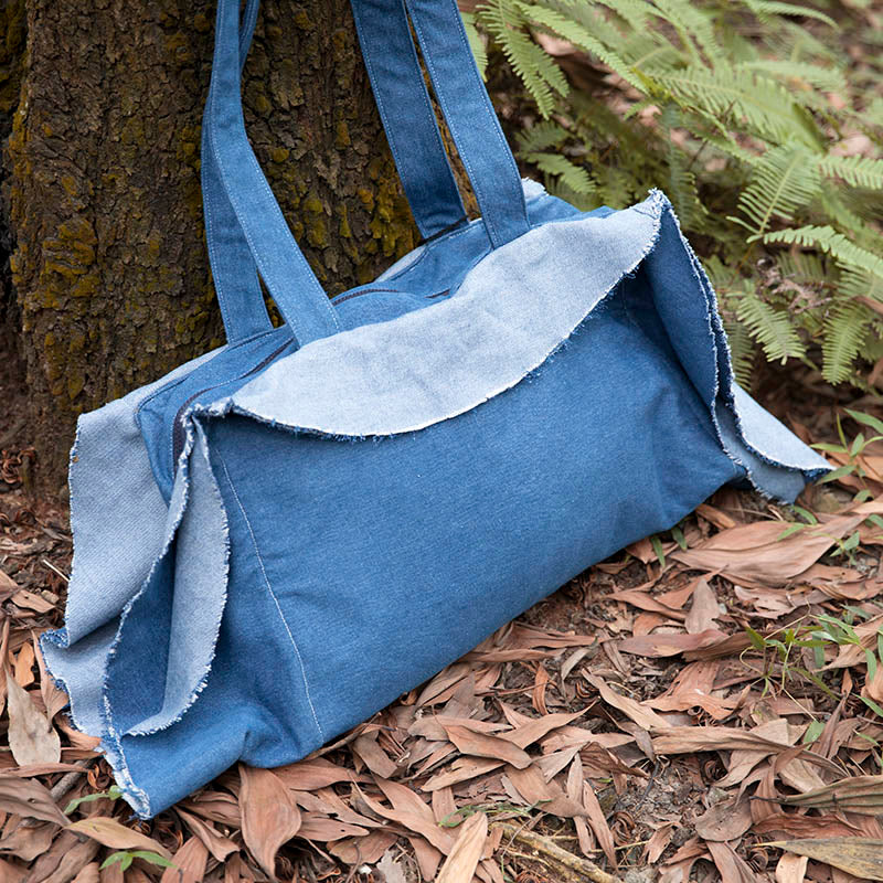 Exotic Individual Women Dark Blue Denim Tote Shoulder Bag - Buykud