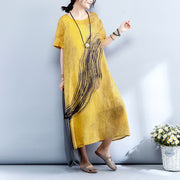 Summer Printed Short Sleeve Women Yellow Ramie Dress
