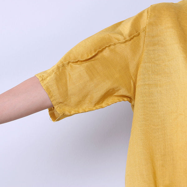Casual Summer Simple Women Linen Yellow Shirt - Buykud