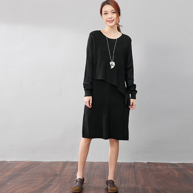 Women Long Sleeve Lacing Solid Black Knitted Sweater Dress - Buykud