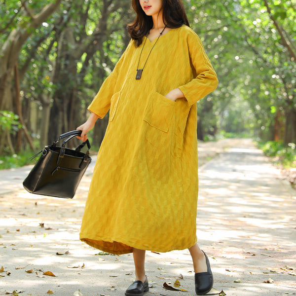 Casual Jacquard Double Pocket Autumn Yellow Dress For Women - Buykud