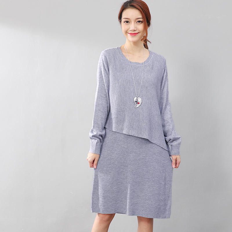 7a4ab3af817 Women Long Sleeve Lacing Solid Gray Knitted Sweater Dress
