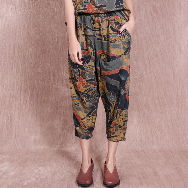 Loose Casual Printing Women Pocket Pants