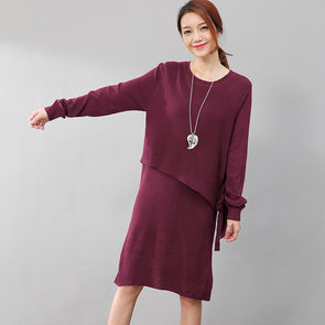 Women Long Sleeve Lacing Solid Purple Red Knitted Sweater Dress - Buykud