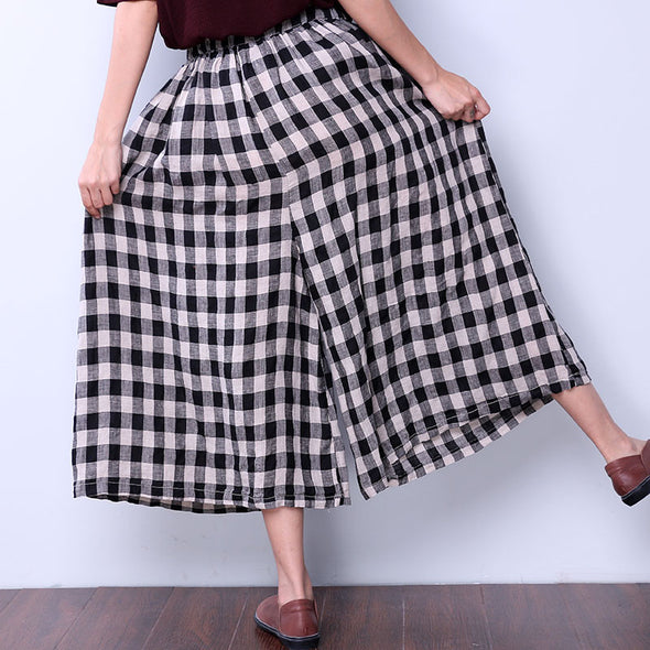 Loose Lattice Casual String Wide Leg Pants - Buykud