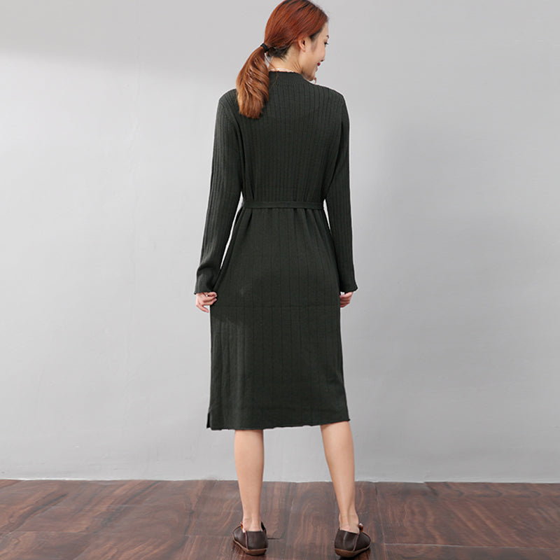 Chic Jacquard Women Long Sleeve Splitting Sweater Dress - Buykud