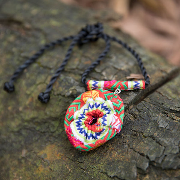 Ethnic Style Ring Shape Mixed Color Retro Women Necklace - Buykud
