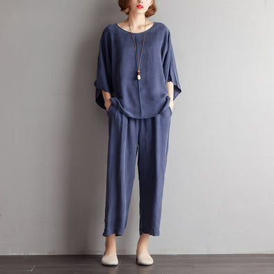 Casual Women Shoulder Sleeve Summer Loose Navy Blue Suits