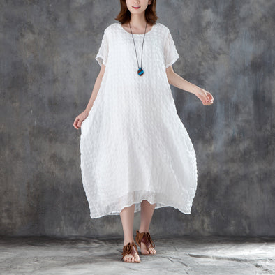 Women Short Sleeve Plain White Pullovers Dress