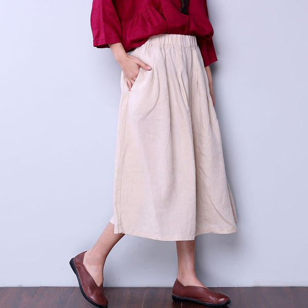 Folded Women Loose Linen Wide Leg Beige Pants - Buykud