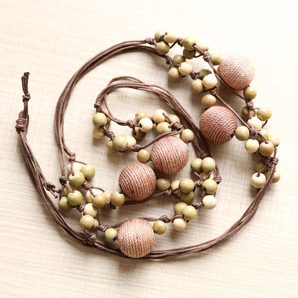 Accessory Retro Rope Chain Wood Cotton Beads Necklace - Buykud