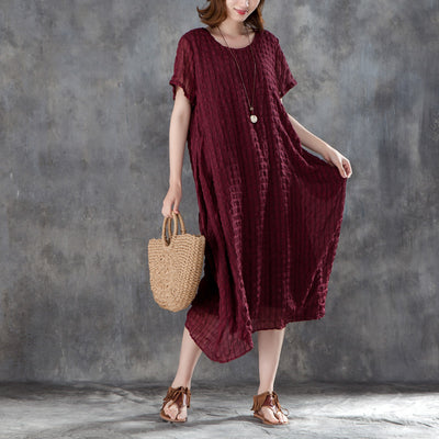 Women Short Sleeve Plain Wine Red Pullovers Dress
