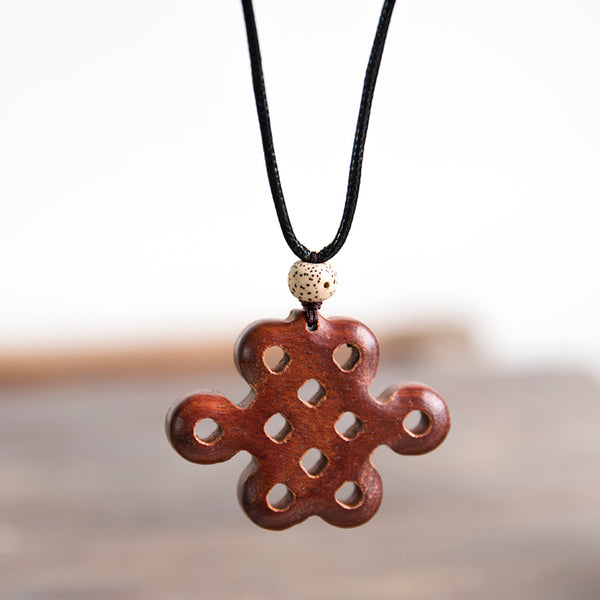 Wooden Chinense Knot Vintage Lucky Accessories Women Necklace - Buykud