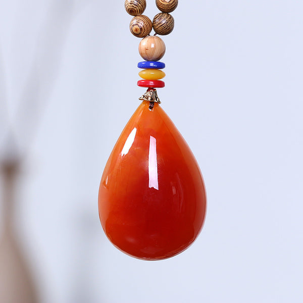 Women Wooden Beads Retro Beeswax Pendant Necklace