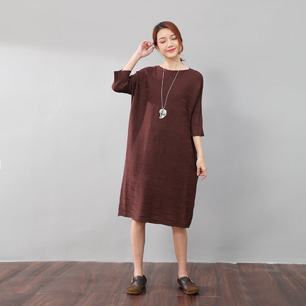 Stylish Women Stripe Three Quarter Sleeves Knitting Coffee Dress - Buykud