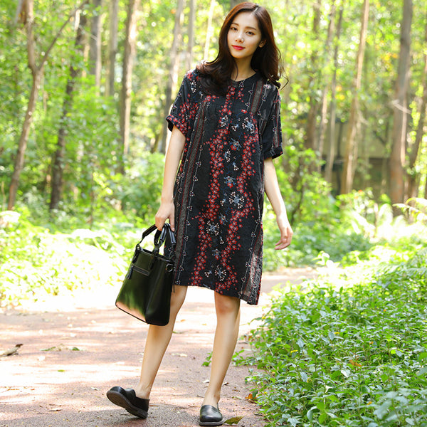 Women Cotton Buttons Retro Short Sleeve Printing Pockets Dress - Buykud