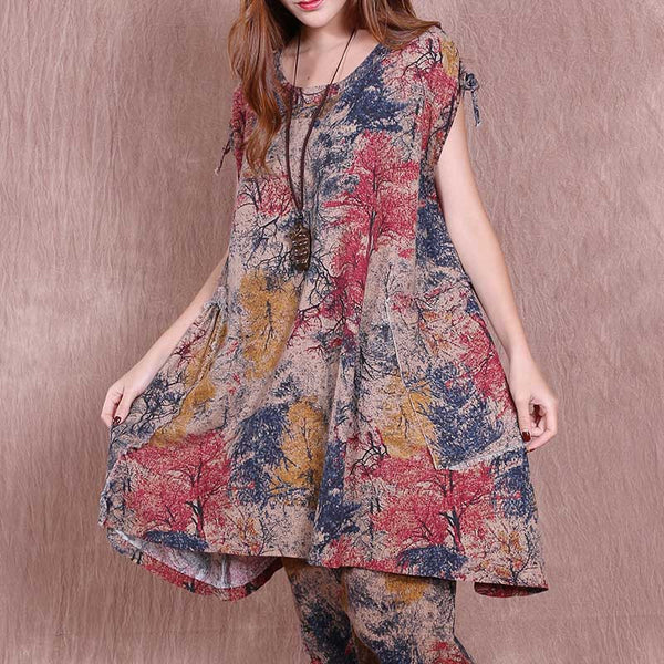 Women Summer Casual Pocket Printing Long Vest