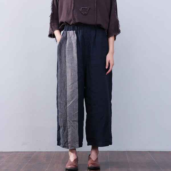 Women Loose Pocket Blue Long Pants
