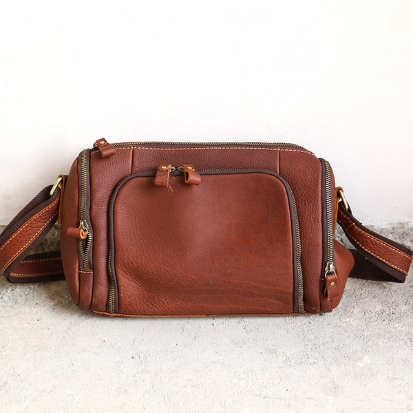 Vintage Women Versatile Zipper Leather Shoulder Bag - Buykud