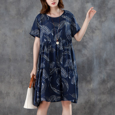 Women Short Sleeve Printed Pleated Blue Dress