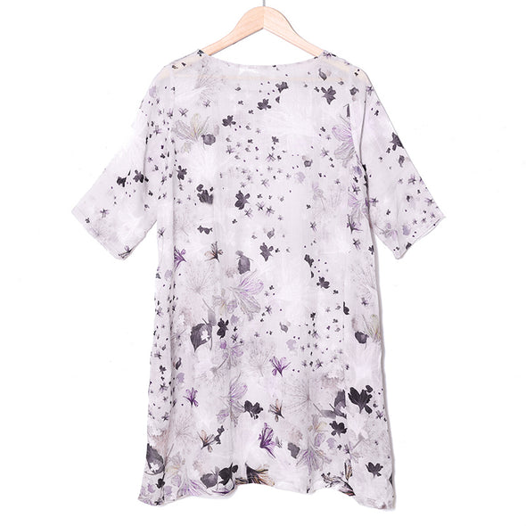 Women Linen Retro Floral Printing Pockets Translucent Dress - Buykud