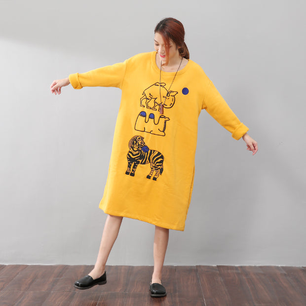 Women Exquisite Animal Embroidery Soft Cotton Dress - Buykud