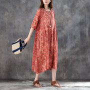 Women Linen Printed Pleated Pockets 1/2 Sleeve Dress