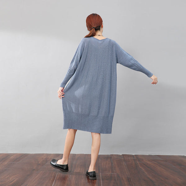Women Autumn Round Neck Long Sleeve Jacquard Blue Knitted Sweater Dress - Buykud