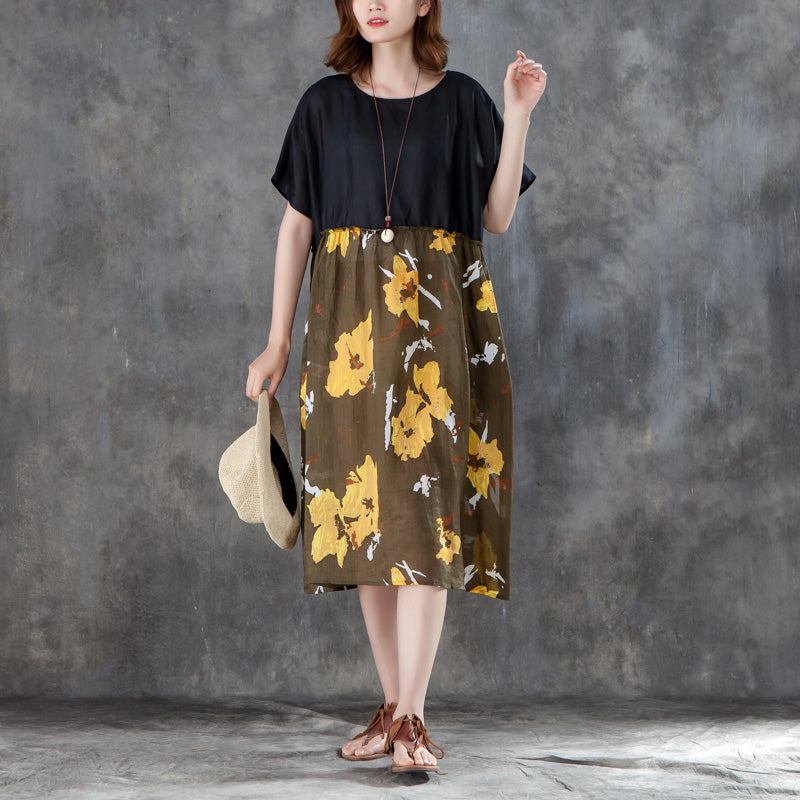 Women Short Sleeve Printed Patchwork Loose Dress