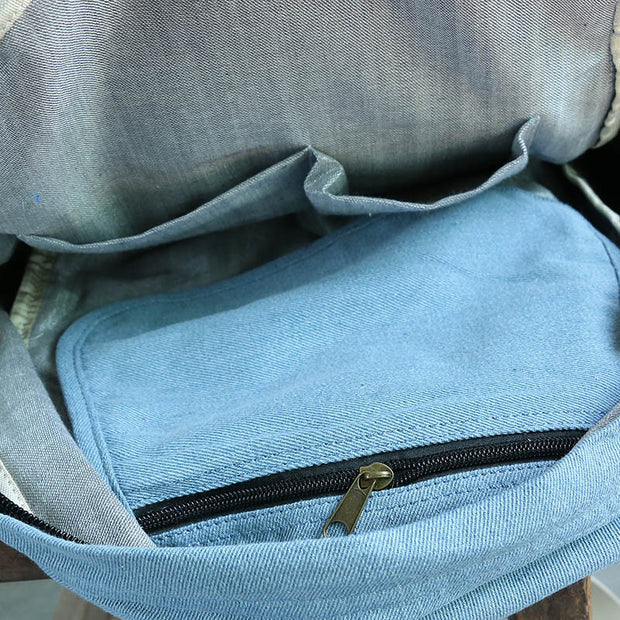 Simple Canvas Zipper Light Blue Backpack - Buykud