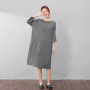 Stylish Women Stripe Three Quarter Sleeves Knitting Gray Dress - Buykud