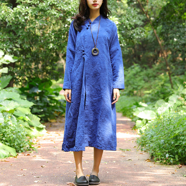 Retro Autumn Round Neck Jacquard Blue Dress For Women - Buykud