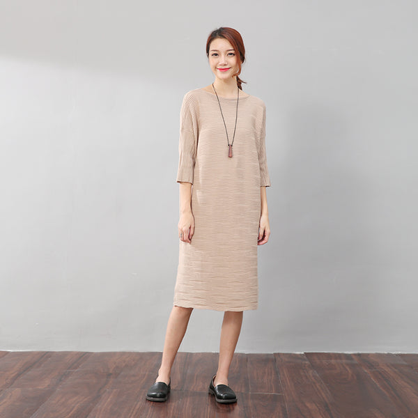 Stylish Women Stripe Three Quarter Sleeves Knitting Beige Dress - Buykud