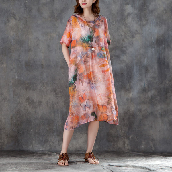 Women Linen Casual Short Sleeve Printed Dress